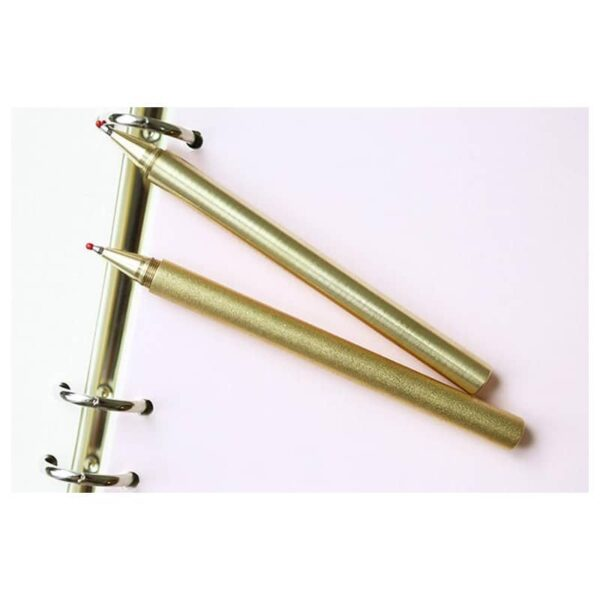 38234 - Металлическая латунная шариковая ручка: блестящая, матовая, стержень и чехол в комплекте
