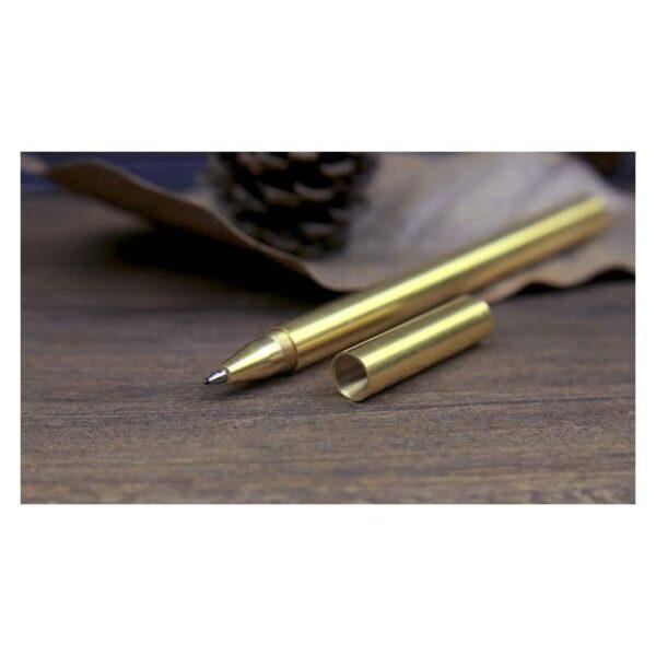 38242 - Металлическая латунная шариковая ручка: блестящая, матовая, стержень и чехол в комплекте