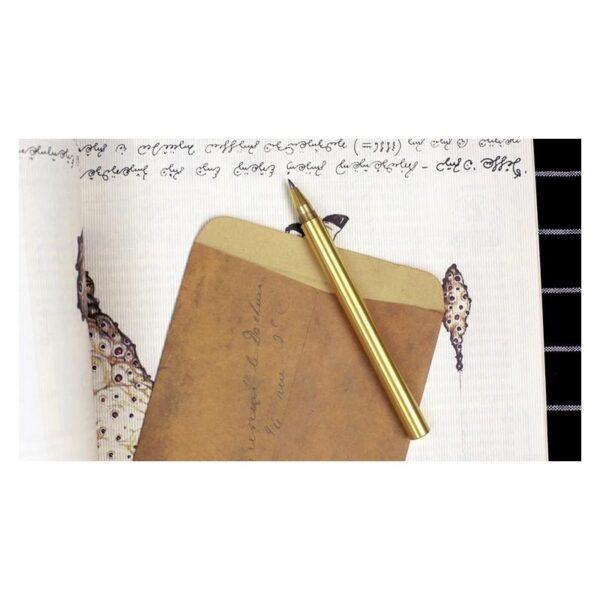 38243 - Металлическая латунная шариковая ручка: блестящая, матовая, стержень и чехол в комплекте