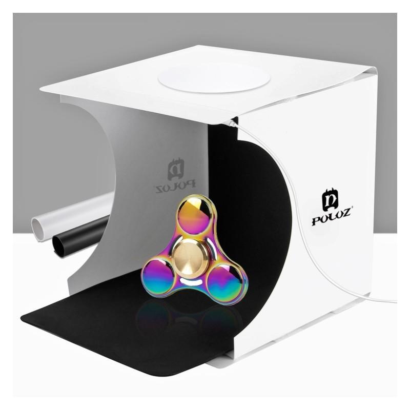 38248 - Складная мини-фотостудия (лайтбокс) PULUZ с LED подсветкой для предметной съемки: черный и белый фоны, 550 лм, 24x23x22 см