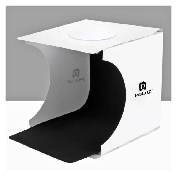 38249 - Складная мини-фотостудия (лайтбокс) PULUZ с LED подсветкой для предметной съемки: черный и белый фоны, 550 лм, 24x23x22 см