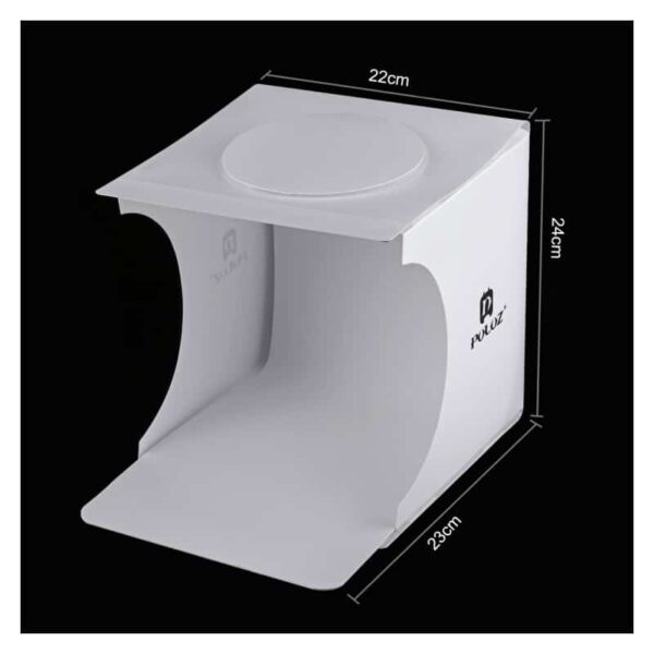 38250 - Складная мини-фотостудия (лайтбокс) PULUZ с LED подсветкой для предметной съемки: черный и белый фоны, 550 лм, 24x23x22 см