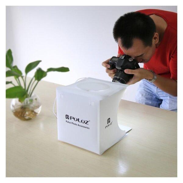 38260 - Складная мини-фотостудия (лайтбокс) PULUZ с LED подсветкой для предметной съемки: черный и белый фоны, 550 лм, 24x23x22 см