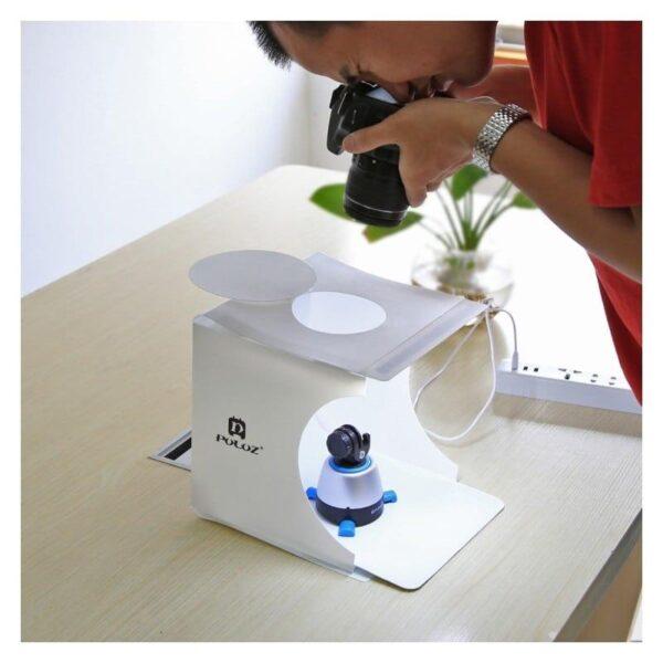 38261 - Складная мини-фотостудия (лайтбокс) PULUZ с LED подсветкой для предметной съемки: черный и белый фоны, 550 лм, 24x23x22 см