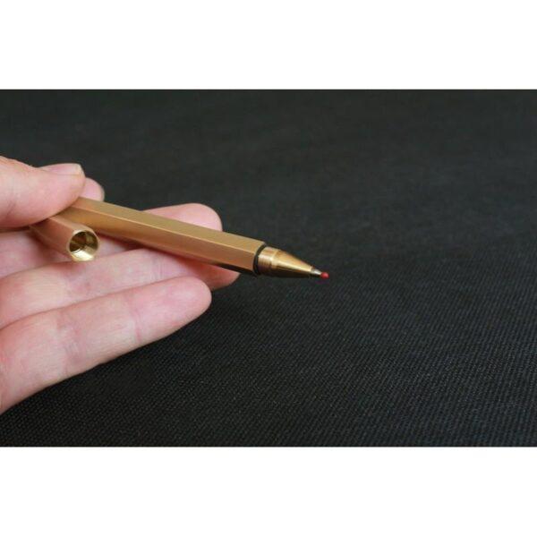 38262 - Металлическая латунная шариковая ручка шестигранной формы: матовая полировка, стержень и чехол в комплекте