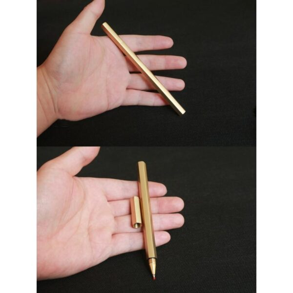 38263 - Металлическая латунная шариковая ручка шестигранной формы: матовая полировка, стержень и чехол в комплекте
