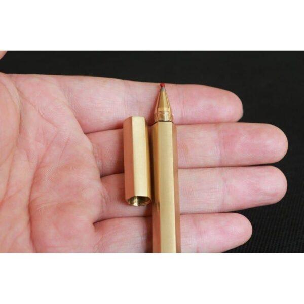 38264 - Металлическая латунная шариковая ручка шестигранной формы: матовая полировка, стержень и чехол в комплекте