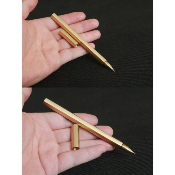 38267 - Металлическая латунная шариковая ручка шестигранной формы: матовая полировка, стержень и чехол в комплекте