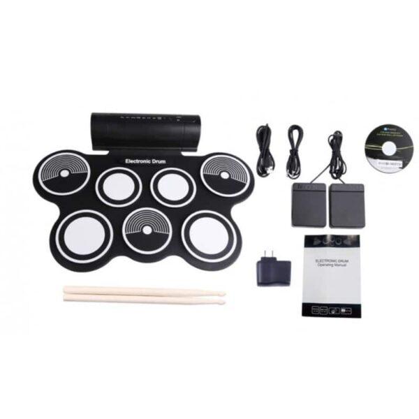 38364 - Электронная портативная барабанная установка Konix MD759: стерео-динамики, педали, mp3-запись, поддержка игр и приложения
