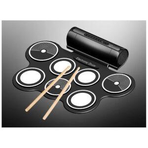 Электронная портативная барабанная установка Konix MD759: стерео-динамики, педали, mp3-запись, поддержка игр и приложения