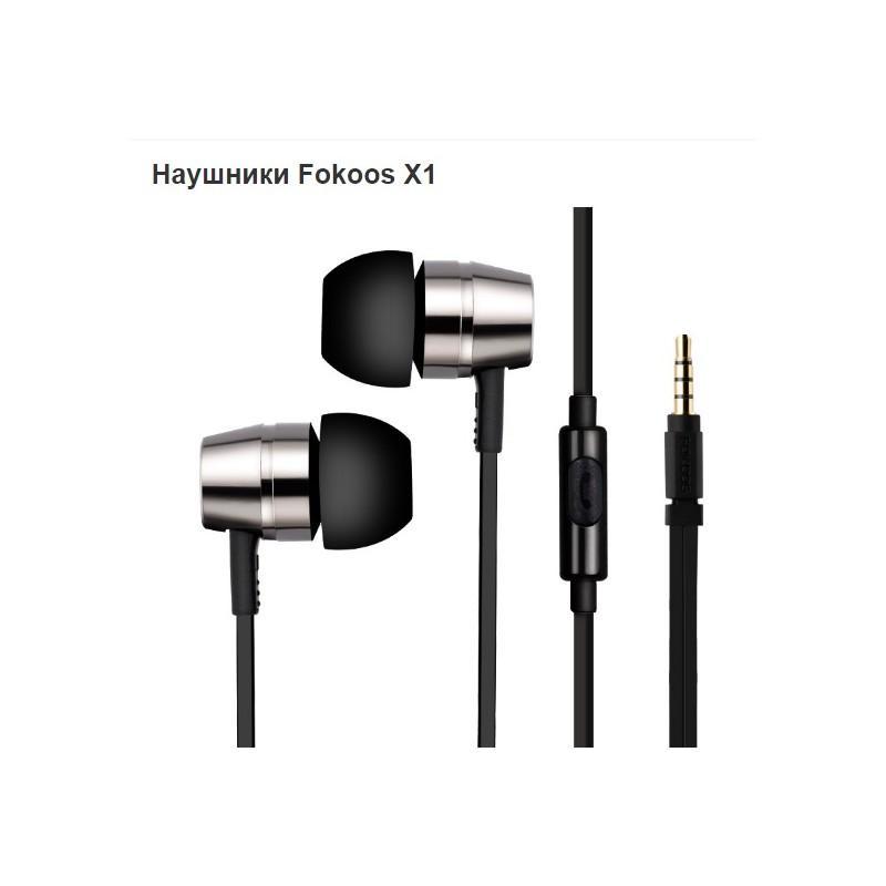 38387 - Наушники-гарнитура Fokoos X1 Magic Bass: мощная низкочастотная диафрагма, разъем 3,5 мм, 1,2 м плоский провод, 110 дБ