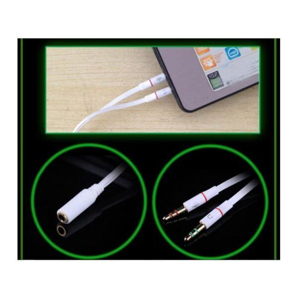 38414 - Портативные игровые наушники-гарнитура Fokoos M4: удлинитель для двойного выхода микрофон-наушники, 3,5 мм разъем, 110 дБ