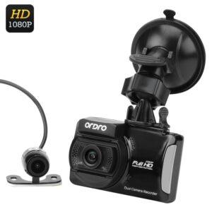 Автомобильный видеорегистратор Ordro Q503+парковочная камера: 1080p, ЖК-экран, 3-осевой G-сенсор, цикл. запись, датчик движения