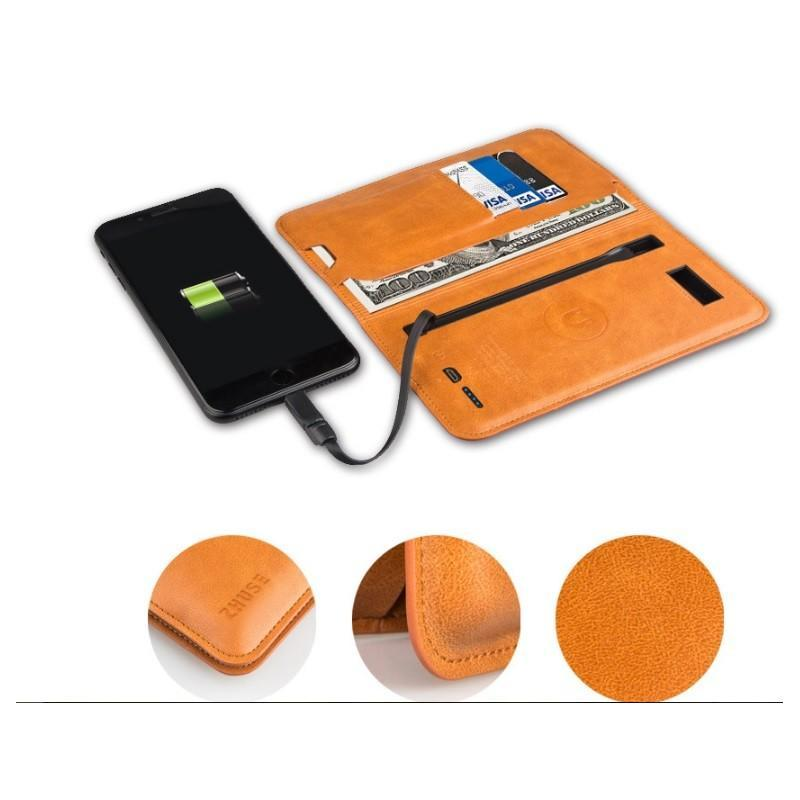 Карманный Power Bank-чехол ZHUSE для смартфона (6800 мАч): Micro USB с переходниками для USB Type-C и Ligthning разъемов - Мокко