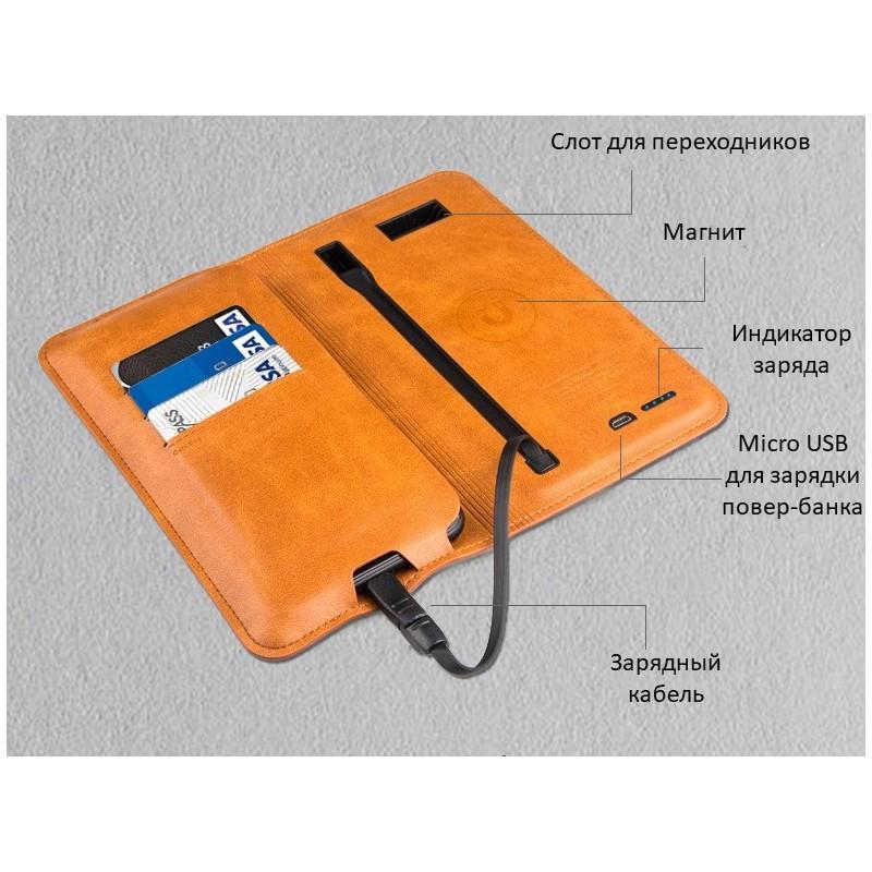 Карманный Power Bank-чехол ZHUSE для смартфона (6800 мАч): Micro USB с переходниками для USB Type-C и Ligthning разъемов 214250