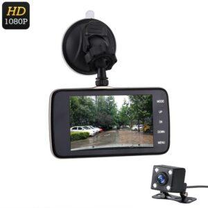 Автомобильный видеорегистратор Loop1080P + парковочная камера: ЖК-экран, G-сенсор, цикл. запись, датчик движения, 1080р
