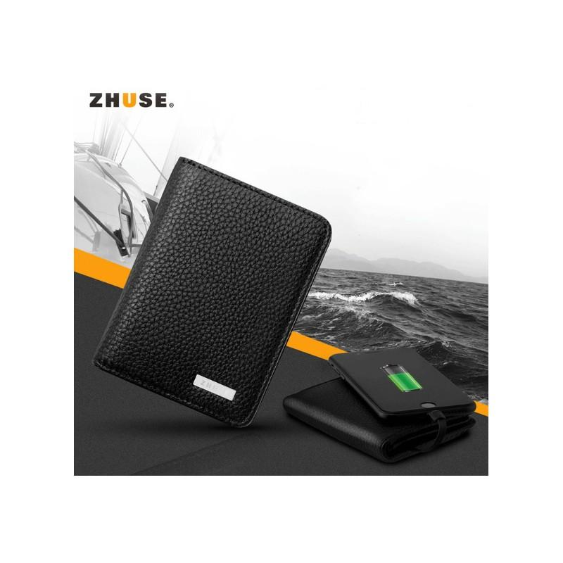 38630 - Power Bank-портмоне ZHUSE 4000 мАч: Micro USB-разъем + Lightning-порт (Apple), PU-кожа, отделения для визиток