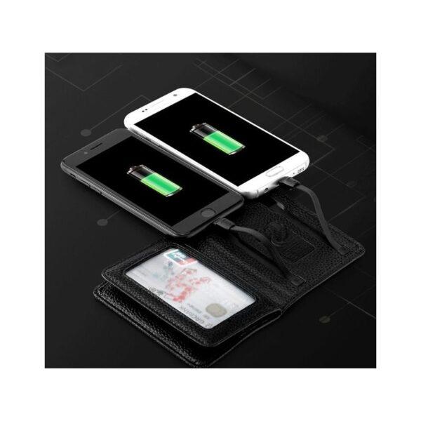 38636 - Power Bank-портмоне ZHUSE 4000 мАч: Micro USB-разъем + Lightning-порт (Apple), PU-кожа, отделения для визиток