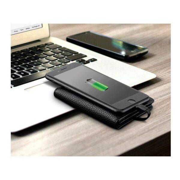 38640 - Power Bank-портмоне ZHUSE 4000 мАч: Micro USB-разъем + Lightning-порт (Apple), PU-кожа, отделения для визиток