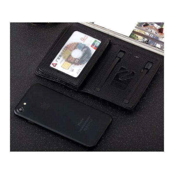 38641 - Power Bank-портмоне ZHUSE 4000 мАч: Micro USB-разъем + Lightning-порт (Apple), PU-кожа, отделения для визиток