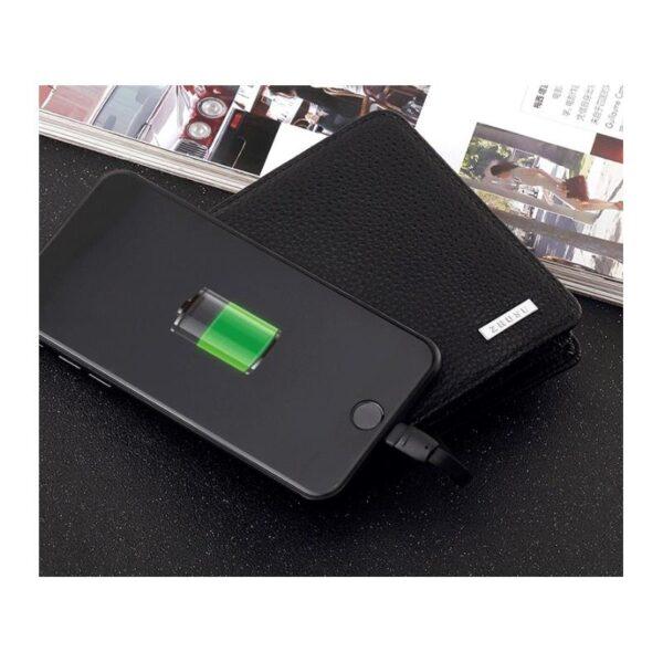 38642 - Power Bank-портмоне ZHUSE 4000 мАч: Micro USB-разъем + Lightning-порт (Apple), PU-кожа, отделения для визиток