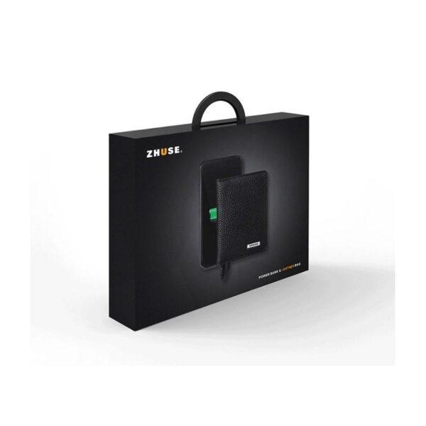 38645 - Power Bank-портмоне ZHUSE 4000 мАч: Micro USB-разъем + Lightning-порт (Apple), PU-кожа, отделения для визиток