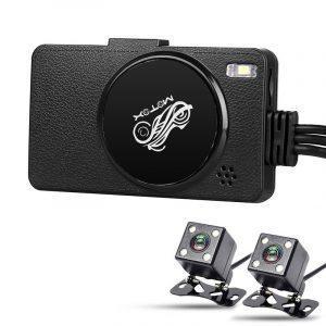 FullHD видеорегистратор для мотоцикла с двумя камерами: 1080р, 3´дисплей, датчик движения, цикл.запись, IP67, SD-карта, G-Sensor