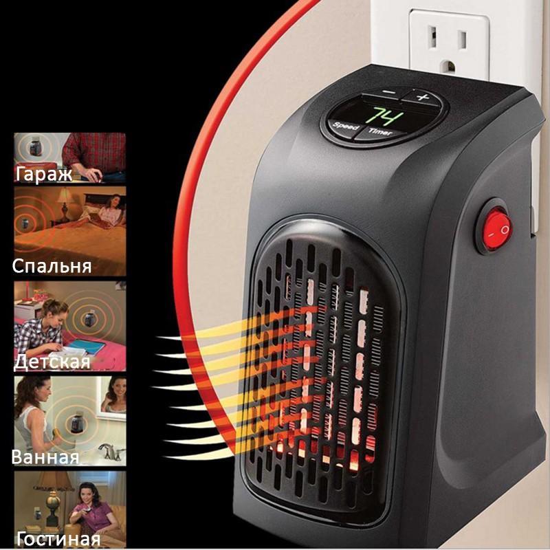 38710 - Портативный настенный мини-обогреватель Handy Heater: 350Вт, защита от перегрева, выбор температуры, таймер