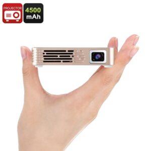 Мини-проектор Lumix E838: – 100 люмен, поддержка 1080p, HDMI, USB, встроенный динамик, 3,5-мм аудиоразъем, 4500мАч, ОС Linux