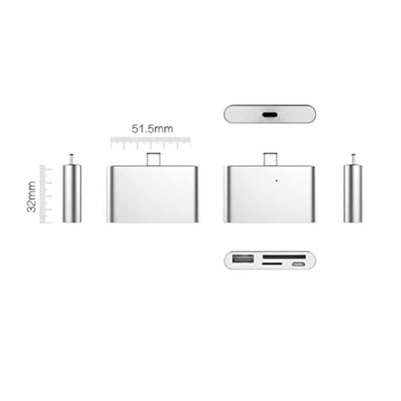 Ультратонкий USB 3.1 Type-C карт-ридер (CF/ SD/ TF Micro SD) + адаптер с функцией OTG + зарядное 214406