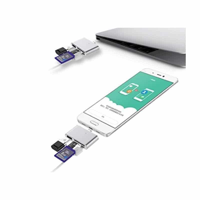 Ультратонкий USB 3.1 Type-C карт-ридер (CF/ SD/ TF Micro SD) + адаптер с функцией OTG + зарядное 214407