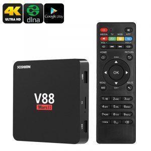 ТВ-приставка Scishion V88 Mars II: Android 6.0, 4K, Rock chip 3229 4 ядра, 2Гб/ 8 Гб, Kodi, Google Play, WiFi, Miracast, DLNA