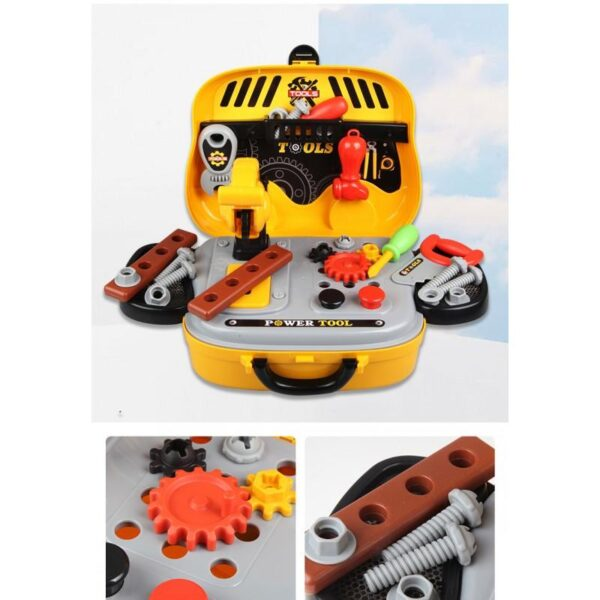 38864 - Детский развивающий набор инструментов для мальчиков + чемодан-машинка для хранения: 23 детали, верстак, шестеренки, кнопки