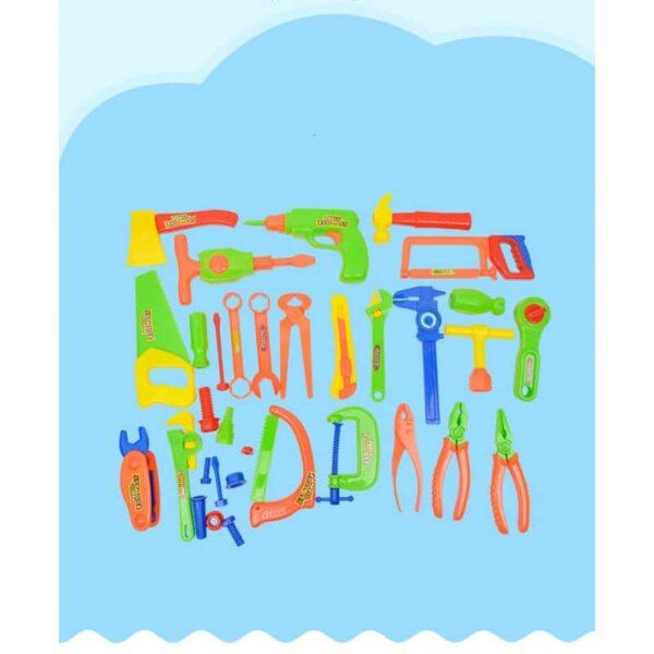 38893 - Детский игрушечный набор инструментов для мальчика + каска: 32 детали
