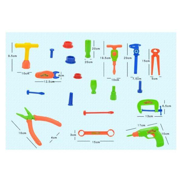 38896 - Детский игрушечный набор инструментов для мальчика + каска: 32 детали