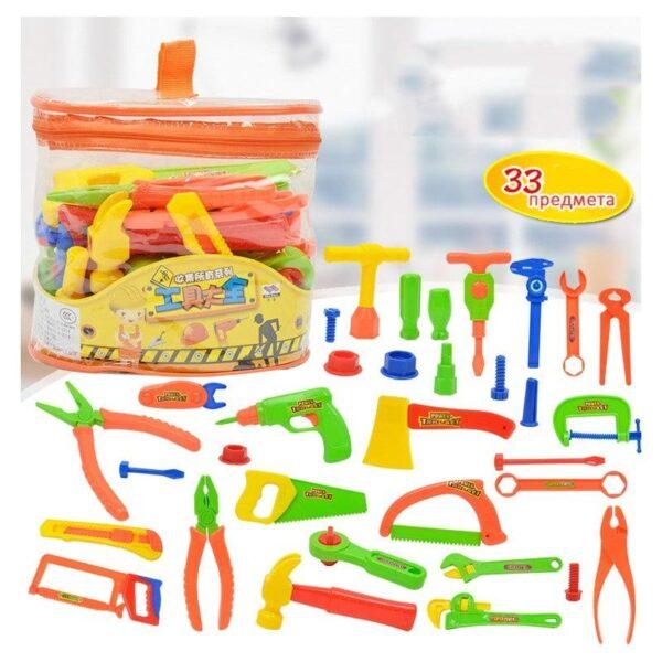 38897 - Детский игрушечный набор инструментов для мальчика + каска: 32 детали