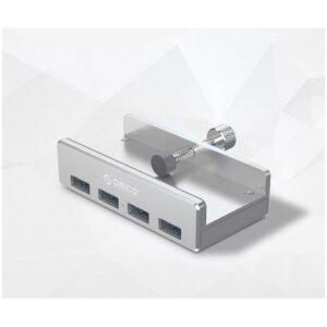 USB-концентратор ORICO MH4PU с зажимом для крепления на монитор (10-32 мм толщиной): металл, 4 порта USB 3.0, 1 м USB-кабель