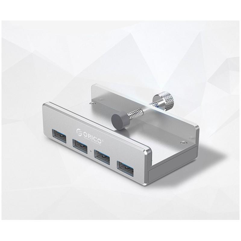 39020 - USB-концентратор ORICO MH4PU с зажимом для крепления на монитор (10-32 мм толщиной): металл, 4 порта USB 3.0, 1 м USB-кабель