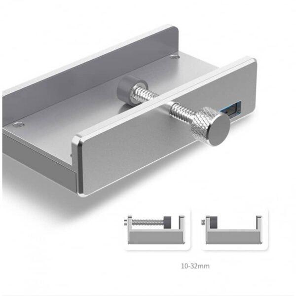 39022 - USB-концентратор ORICO MH4PU с зажимом для крепления на монитор (10-32 мм толщиной): металл, 4 порта USB 3.0, 1 м USB-кабель