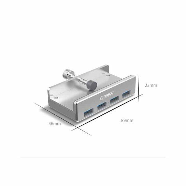 39023 - USB-концентратор ORICO MH4PU с зажимом для крепления на монитор (10-32 мм толщиной): металл, 4 порта USB 3.0, 1 м USB-кабель