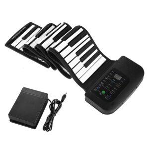 Гибкое пианино-клавиатура со встроенным аккумулятором (1000 мАч) Konix Profy: 88 клавиш, 140 тонов, 128 ритмов, демо-мелодии