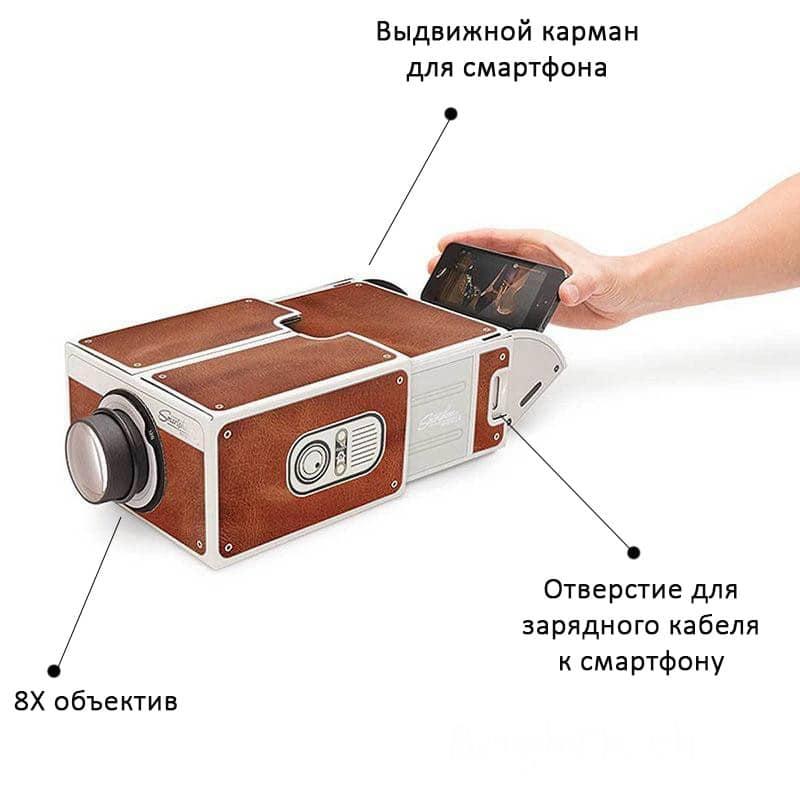 39358 thickbox default - Картонный складной проектор для смартфона (DIY портативный кинотеатр) CinemaTron: 8Х зум, подходит для любых смартфонов