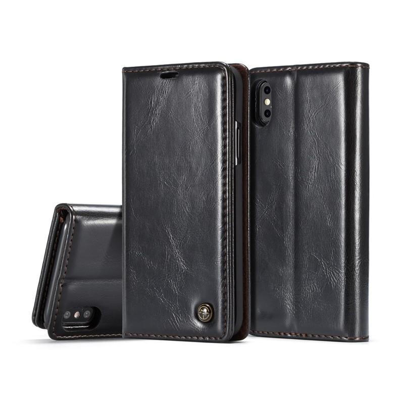 39430 - Кожаный чехол CaseMe003 для iPhone X с подставкой-держателем, слотами для карт и кошельком: PU-кожа, бизнес-стиль