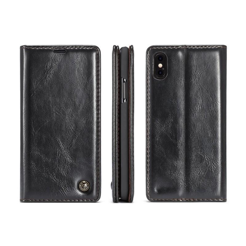 Кожаный чехол CaseMe003 для iPhone X с подставкой-держателем, слотами для карт и кошельком: PU-кожа, бизнес-стиль 214993