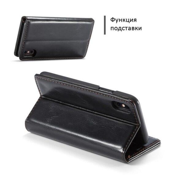 39432 - Кожаный чехол CaseMe003 для iPhone X с подставкой-держателем, слотами для карт и кошельком: PU-кожа, бизнес-стиль