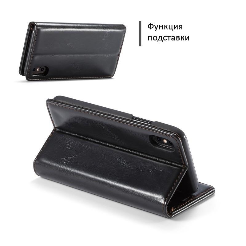 Кожаный чехол CaseMe003 для iPhone X с подставкой-держателем, слотами для карт и кошельком: PU-кожа, бизнес-стиль 214994