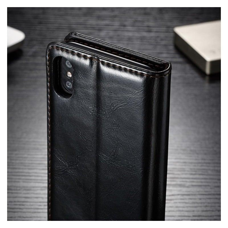 Кожаный чехол CaseMe003 для iPhone X с подставкой-держателем, слотами для карт и кошельком: PU-кожа, бизнес-стиль 214998