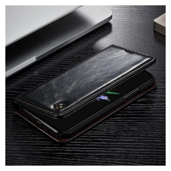 39437 - Кожаный чехол CaseMe003 для iPhone X с подставкой-держателем, слотами для карт и кошельком: PU-кожа, бизнес-стиль