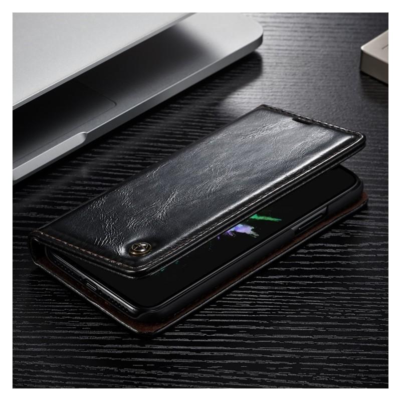 Кожаный чехол CaseMe003 для iPhone X с подставкой-держателем, слотами для карт и кошельком: PU-кожа, бизнес-стиль 214999