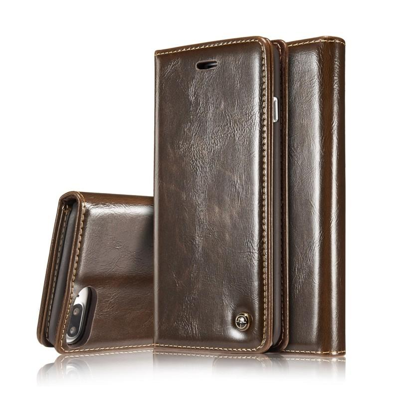 Кожаный чехол CaseMe003 для iPhone X с подставкой-держателем, слотами для карт и кошельком: PU-кожа, бизнес-стиль - Коричневый